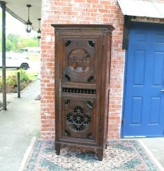 French Antique Oak Brittany 1 Door And 3 Shelf Cabinet