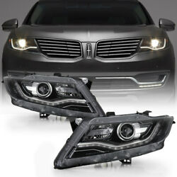 Fit 16-18 Lincoln Mkx Non-afs Xenon Hid Black Headlight Replacement Pair Lamp