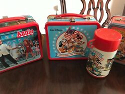 3 Vintage Metal Lunch Boxes Disney, Annie, Raggedy Ann With Thermos Never Used