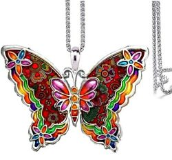 Large Stunning Butterfly Pendant Necklace On 24 Inches Stainless Steel Chain