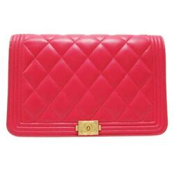Pink Boy Wallet On Chain Woc Shoulder Bag Quilted Calfskin Leather