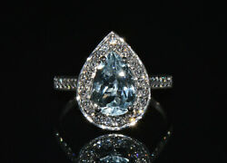 Certified Natural 2.2cts Vs F Diamond Aquamarine 18k Solid Gold Halo Dinner Ring