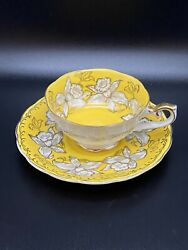 Antique Wall china Japan Teacup And Saucer Set. Yellow And Gold Daffodils.