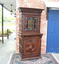 French Antique Dark Oak Stained Glass Renaissance Buffet / Sideboard / Hutch