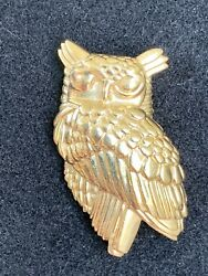 And Co 14k Yellow Gold Sitting Owl Textured Pin Brooch Rare Vintage