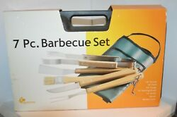 7 Pc Barbecue Set Tongs Turner Grill Tools Fork Basting Brush Knife Apron Case