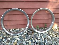Vintage 2 Chrome Beauty Rings 15 Used Have Marks. For Baby Moon Hub Caps