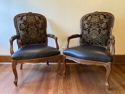 Century Furniture Pair Of Louis Xv Style Baroque Armchairs, Black Leather Seats