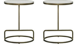 Two Jessenia Modern Iron Oval Accent End Drink Tables Marble Top Uttermost 25135