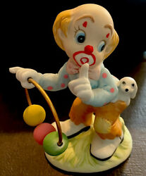 Lefton Vintage Clown W Ring of Circus Balls amp; Doggie in his pocket