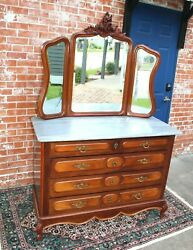 French Antique Mahogany Wood Louis Xv Dresser With Mirror And 4 Drawer
