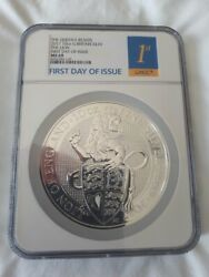 10oz Queen's Beast Lion Of England 2017 Silver Bullion Coin The Royal Arms Uk
