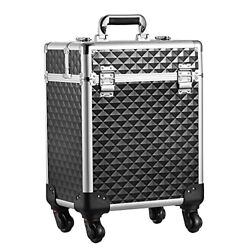 Rolling Makeup Train Case Large Cosmetic Trolley Organized Aluminum Black