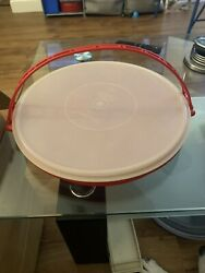 Vintage Tupperware Party Veggie Platter Divided Tray #405 1 Round Red Lid Estate