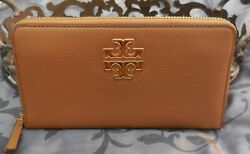 Tory Burch Pebbled Leather BRITTEN ZIP CONTINENTAL Wallet BARK BROWN NWT $228 $119.75