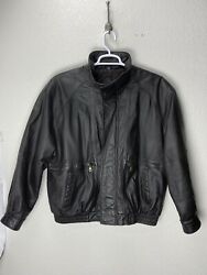 David Taylor Mens Oversized Leather Bomber Jacket Xl Dry Clean Only