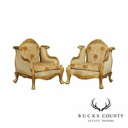 Quality Pair Giltwood Baroque Style Armchairs Bergeres