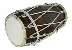 Handmade Musical Rope Indian Dholak Traditional Instrument With Case Cover