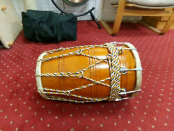 Musical Rope Dholak Mango Wood Indian Folk Traditional Musical With Case Cover