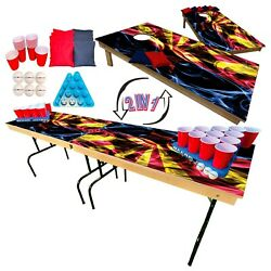 2-in-1 Cornhole And Beer Pong Table Set -arizona State Flag Tailgate Party Set