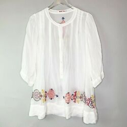 Johnny Was Sheer Half Button White Tunic Sz M Embroidered Hem