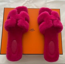 Hermes Oran Wool Rose Fuchsia Bright Pink 38.5 Brand New Sold Out At Hermes