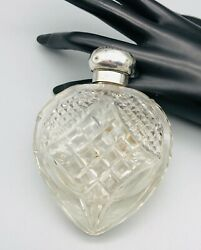 Antique Floral Sterling Silver Topandcut Glass Heart Shaped Perfume Scent Bottle