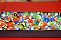 Mixed 470 Lot Assorted Old Vintage New Modern Colorful Glass Marbles Great Mix