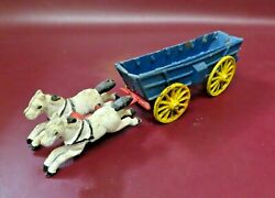 Vintage Reproduction 12 Long Hand Painted Cast Iron Horse Drawn Cart Toy
