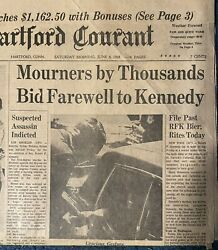 The Hartford Courant Newspaper- Mourners Bid Farwell To Kennedy