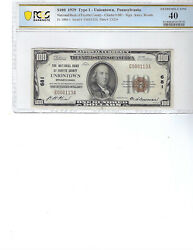 1929 100 National Bank Note Ch681 Fr1804-1 Uniontown, Pa, Pcgs 40 Xf
