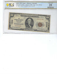1929 100 National Bank Note Fr1804-1 Ch 13098 Den Colorado Pcgs 25 Vf S/n 5