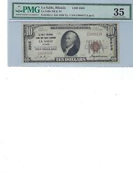 1929 10 National Vank Note Fr1801-1 Ch2503 Lasalle, Illinois Pmg 35 Ch Vf