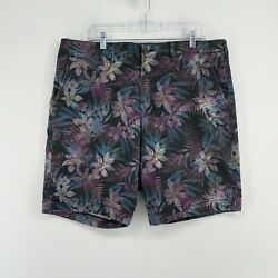 American Eagle Ae Classic Shorts Mens 36 Black Neon Pink Blue Tropical Stretch