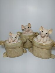 3 Pig's In A Burlap Sack Cookie Jar / Snack Storage Container Set Of 3