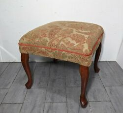Vintage Vanity/sewing/piano Stool Bench Cherry Wood Queen Anne Legs Upholstered