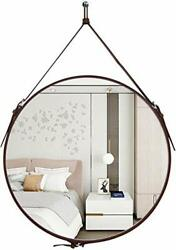 Round Wall Mirror Decorative Mirror Hanging Mirror with Hanging Strap Silver