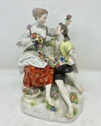 Antique 19th Germany Rare Meissen Figurine Group Of Gardeners Marked 18,5cm