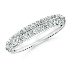 1.2mm Diamond Twisted Rope Knife-edged Wedding Band In Gold/platinum Size 3-13