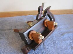 Antique Vintage Rosewood Ivory Brass And Steel Screw Arm Plow Woodworking Plane