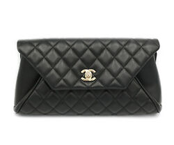 Black Lambskin Quilted Clutch W/ Box And Papers