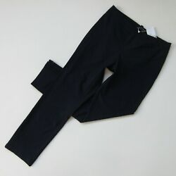 Nwt Eileen Fisher Ankle Zip Pant In Midnight Washable Stretch Crepe Pull-on L