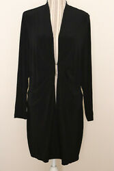 Travelers By Chicos Overcoat Blazer Black Size 3 Silver Buckle