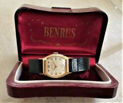 Vintage 1940's Mens Benrus Barrel Watch 17 Jewels Swiss With Box Very Good 2
