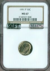 1991 P Roosevelt Dime Ngc Ms 67 Mac 90ft 90 Full Torch Rare Quality✔️