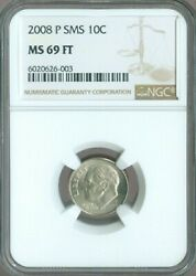 2008 P Sms Roosevelt Dime Ngc Ms 69 Ft Rare Quality✔️
