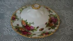 Vintage Royal Albert Old Country Roses Covered Butter Dish, England