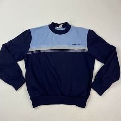 Adidas Vintage Made in France Ventex Blue Pullover Sweatshirt With Pockets Small
