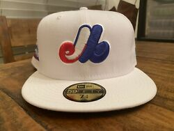 Montreal Expos Olympic Stadium New Era Fitted Hat 7 3/4 White Sky Blue Uv