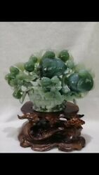 14 Inch Natural Xiuyan Jade Home Decorate A Basket Of Flowers Apple Statue